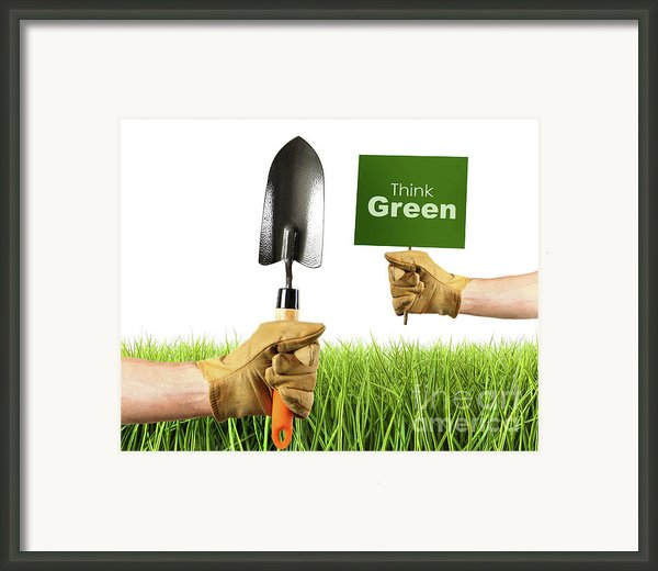 Hands Holding Garden Trowel And Sign Framed Print By Sandra Cunningham