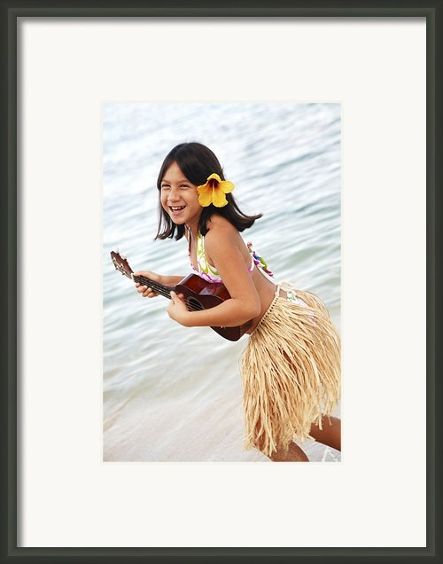 Happy Girl With Ukulele Framed Print By Brandon Tabiolo - Printscapes