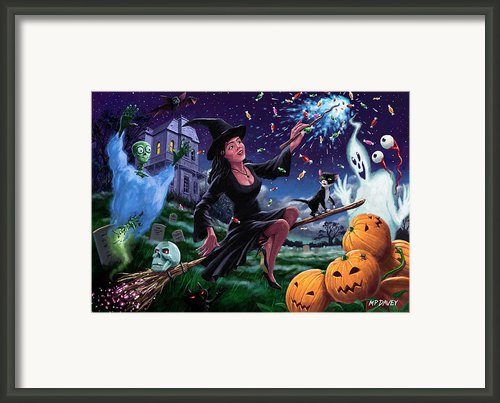 Happy Halloween Witch With Graveyard Friends Framed Print By Martin Davey