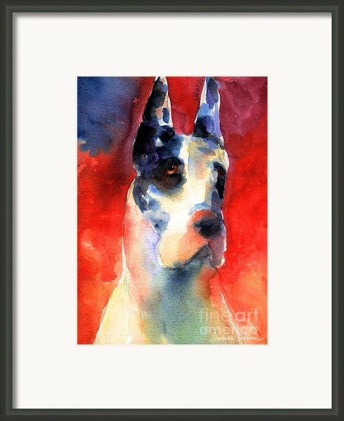 Harlequin Great Dane Watercolor Painting Framed Print By Svetlana Novikova