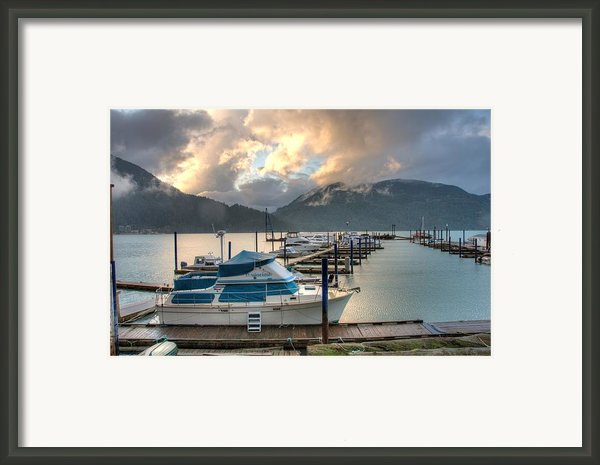 Harrison Lake At Dusk Framed Print By Lawrence Christopher