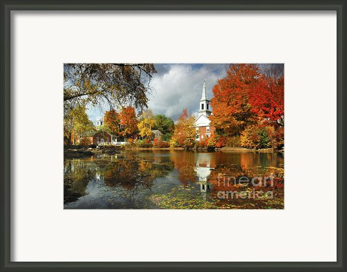 Harrisville New Hampshire - New England Fall Landscape White Steeple Framed Print By Jon Holiday