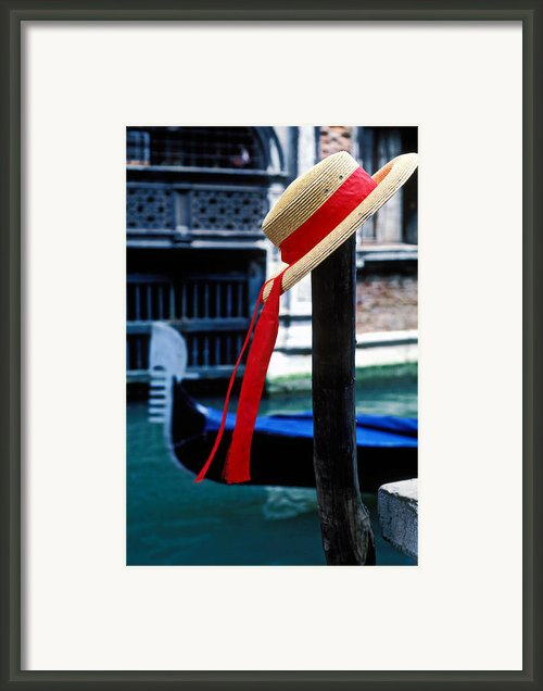 Hat On Pole Venice Framed Print By Garry Gay