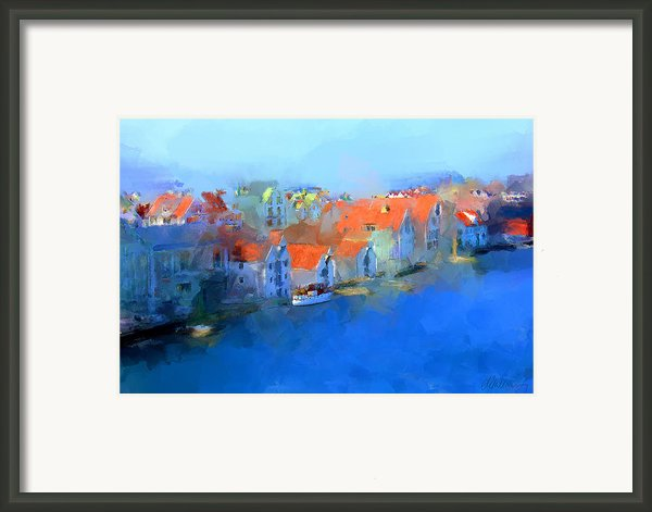 Haugesund Harbour Norway Framed Print By Michael Greenaway