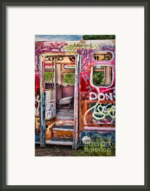 Haunted Graffiti Art Bus Framed Print By Susan Candelario