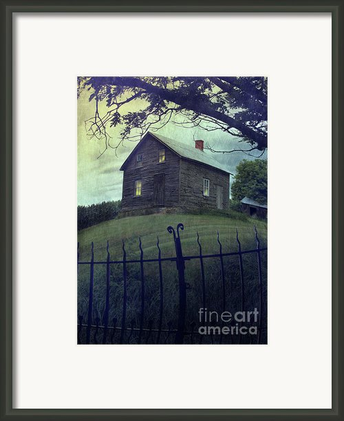 Haunted House On A Hill With Grunge Look Framed Print By Sandra Cunningham