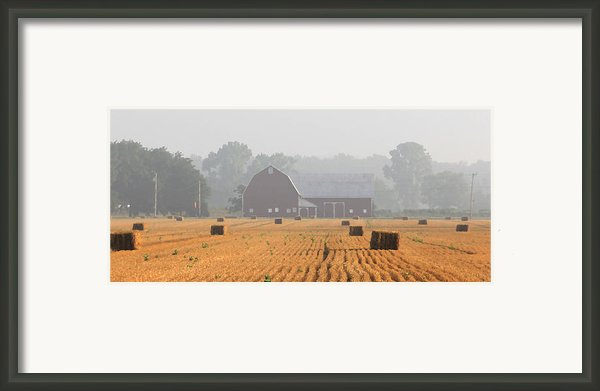 Hay Bales And Red Barn At Sunrise Framed Print By Jack Schultz