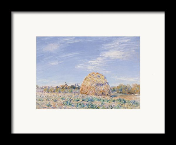Haystack On The Banks Of The Loing Framed Print By Alfred Sisley