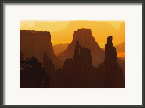 Hazy Sunrise Over Canyonlands National Park Utah Framed Print By Utah Images