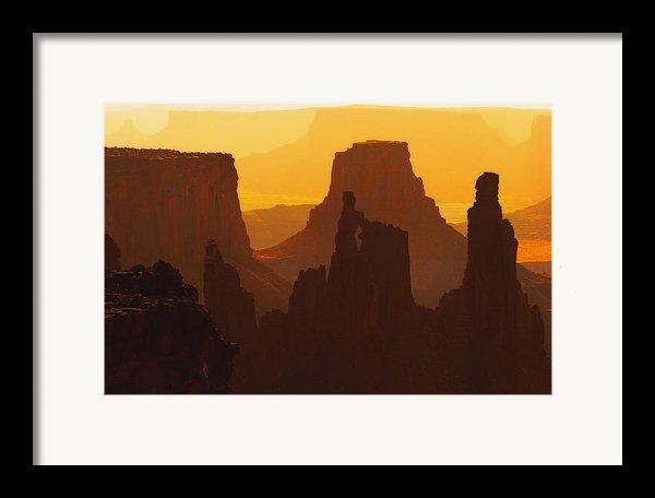 Hazy Sunrise Over Canyonlands National Park Utah Framed Print By Utah Images