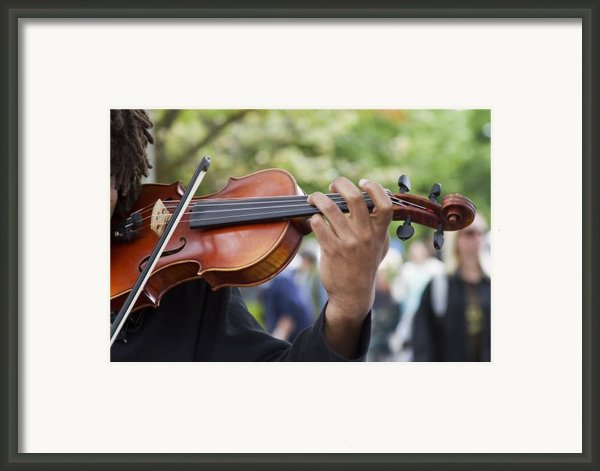 He Plays At The Market Framed Print By Rebecca Cozart