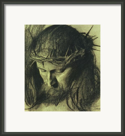 Head Of Christ Framed Print By Franz Von Stuck