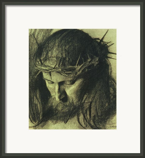 Head Of Christ Framed Print By Franz Von Stuck