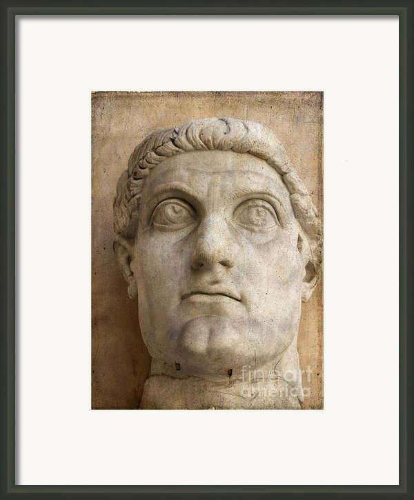 Head Of Emperor Constantine. Rome. Italy Framed Print By Bernard Jaubert