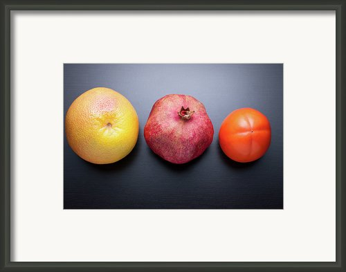 Healthy Fruits On Dark Wooden Background Framed Print By Daitozen