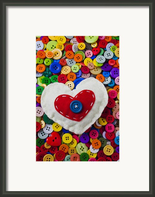 Heart Buttons Framed Print By Garry Gay