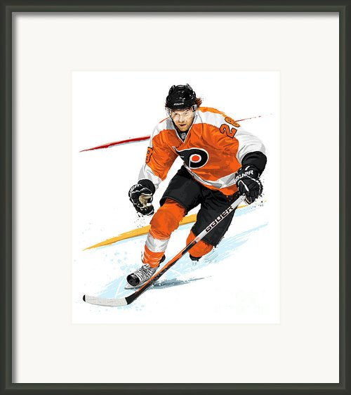 Heart Of The Flyers - Claude Giroux Framed Print By David E Wilkinson