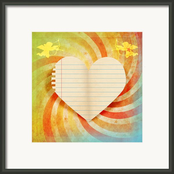 Heart Paper Retro Design Framed Print By Setsiri Silapasuwanchai