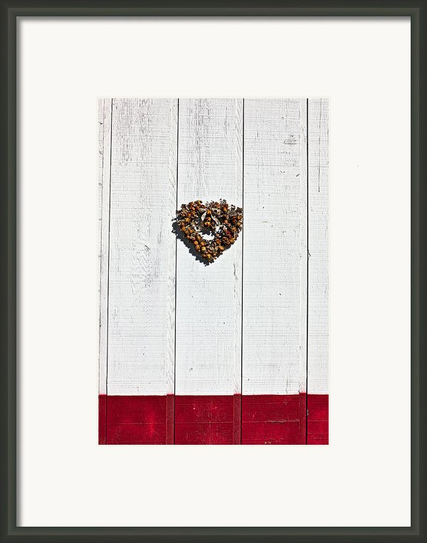 Heart Wreath On Wood Wall Framed Print By Garry Gay