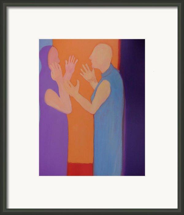 Heated Conversation Framed Print By Renee Kahn