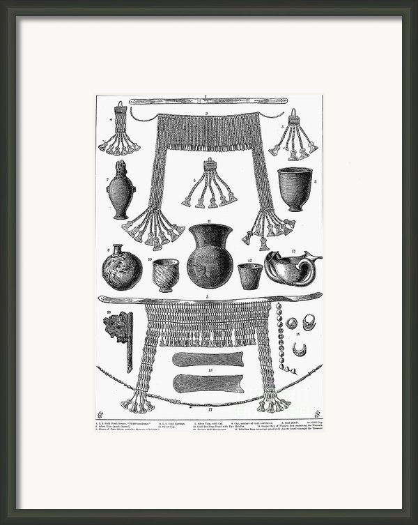 Heinrich Schliemann (1822-1890). German Traveller And Archeologist. Some Of The Antiquities Excavated By Schliemann At Hissarlick, Turkey, Site Of Ancient Troy. Wood Engraving, English, 1877 Framed Print By Granger