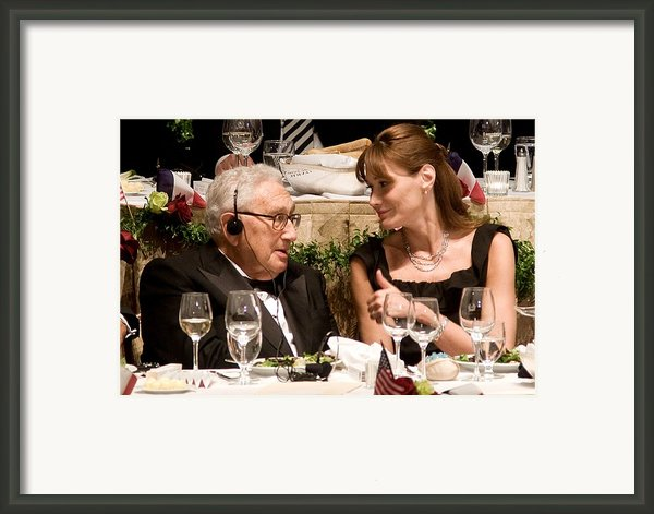Henry Kissinger, Carla Bruni-sarkozy Framed Print By Everett