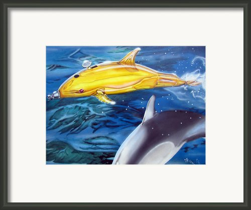 High Tech Dolphins Framed Print By Thomas J Herring