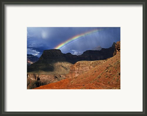 Hikers And Rainbow Kaibab Trail, Grand Framed Print By Ralph Lee Hopkins