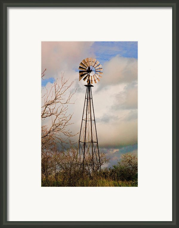 Hill Country Windmill Framed Print By Michael Flood