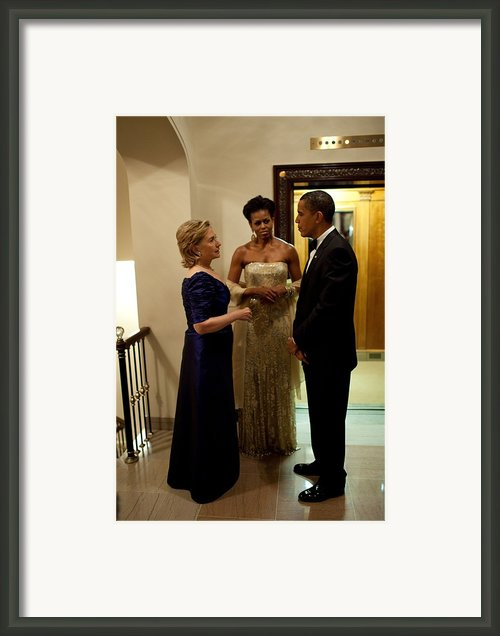 Hillary Clinton Chats With President Framed Print By Everett