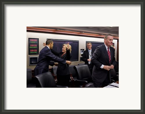 Hillary Clinton Joyfully Congratulates Framed Print By Everett