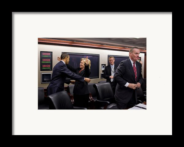 Hillary Clinton Joyfully Congratulates Framed Print By Everett