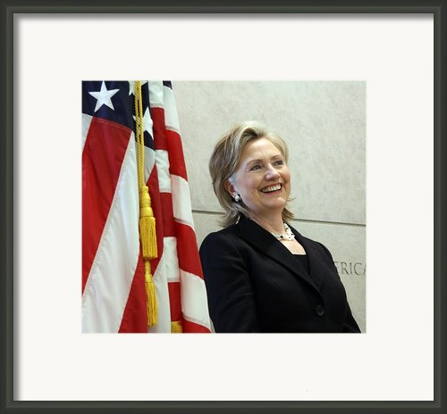 Hillary Clinton Speaks At The U.s Framed Print By Everett