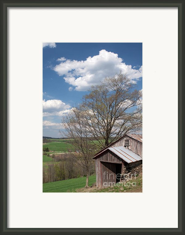 Hillside Weathered Barn Dramatic Spring Sky Framed Print By John Stephens