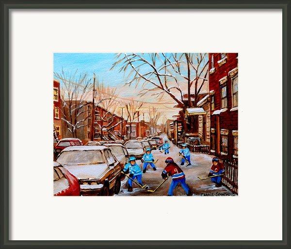 Hockey Gameon Jeanne Mance Street Montreal Framed Print By Carole Spandau
