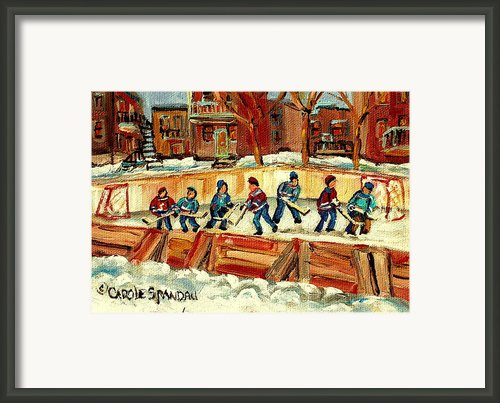 Hockey Rinks In Montreal Framed Print By Carole Spandau