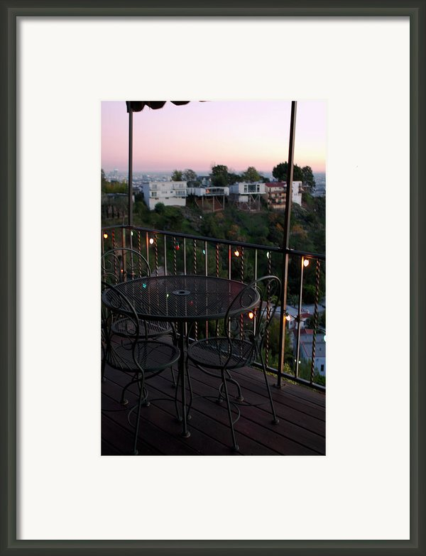 Holiday Deck At Dusk Framed Print By Lorraine Devon Wilke