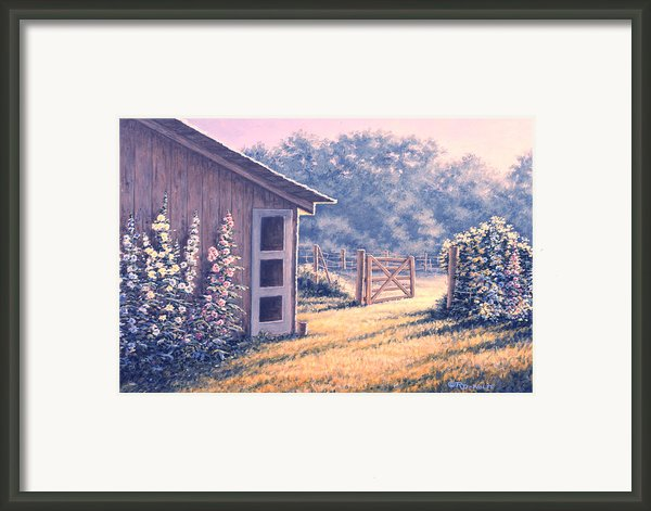 Holly Hocks Framed Print By Richard De Wolfe
