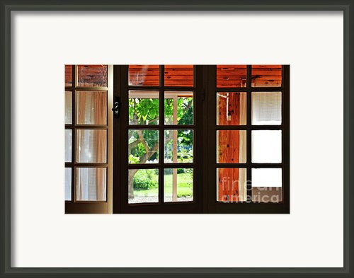 Home Garden Through Window Framed Print By Sami Sarkis
