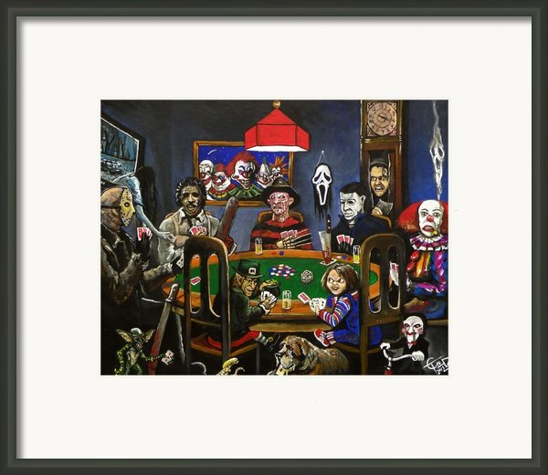 Horror Card Game Framed Print By Tom Carlton