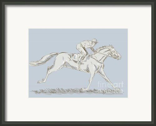 Horse And Jockey Framed Print By Aloysius Patrimonio