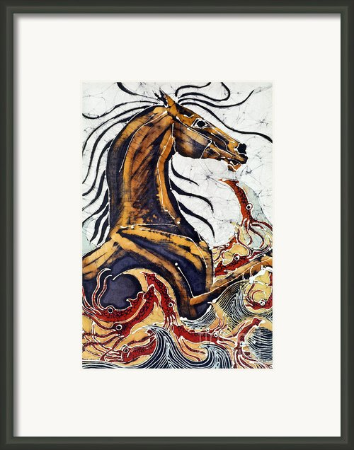 Horse Dances In Sea With Squid Framed Print By Carol Law Conklin