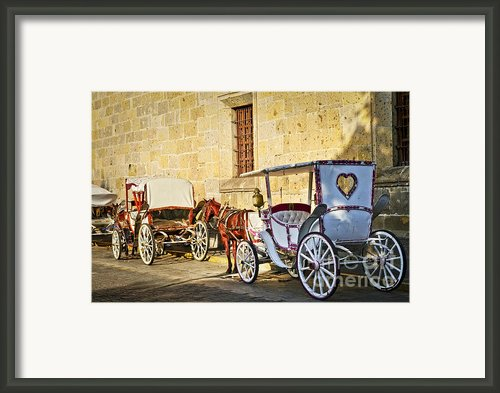 Horse Drawn Carriages In Guadalajara Framed Print By Elena Elisseeva