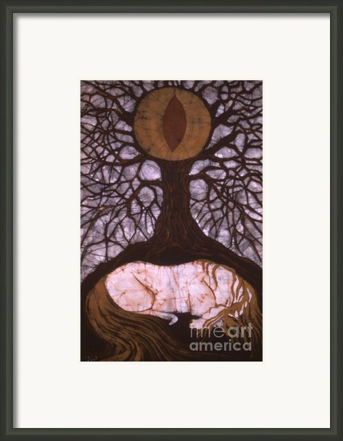 Horse Sleeps Below Tree Of Rebirth Framed Print By Carol  Law Conklin