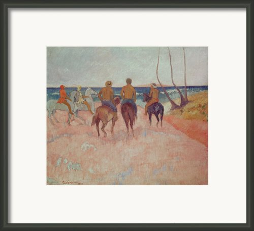 Horseman On The Beach Framed Print By Paul Gauguin
