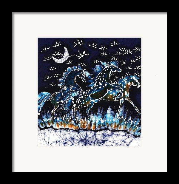Horses Frolic On A Starlit Night Framed Print By Carol Law Conklin