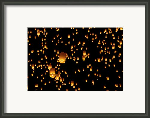 Hot Air Lanterns In Sky Framed Print By Daniel Osterkamp