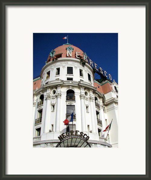 Hotel Negresco In Nice Framed Print By Carla Parris
