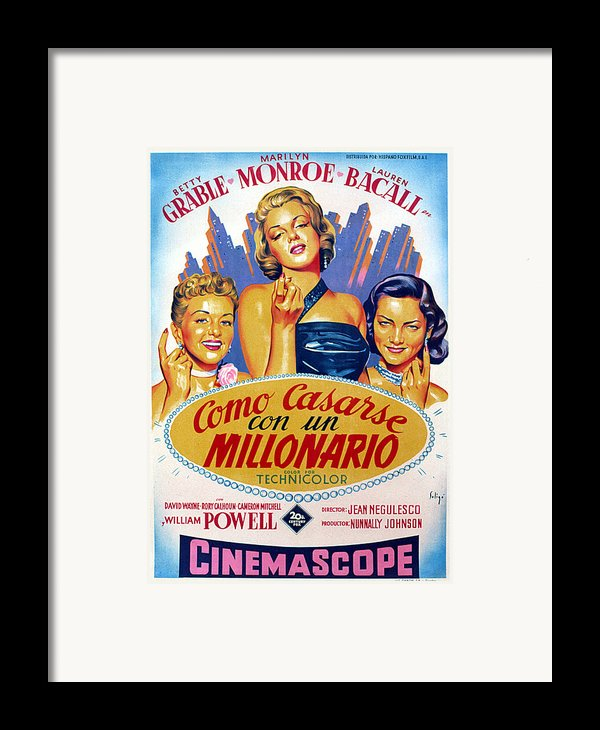 How To Marry A Millionaire, Betty Framed Print By Everett