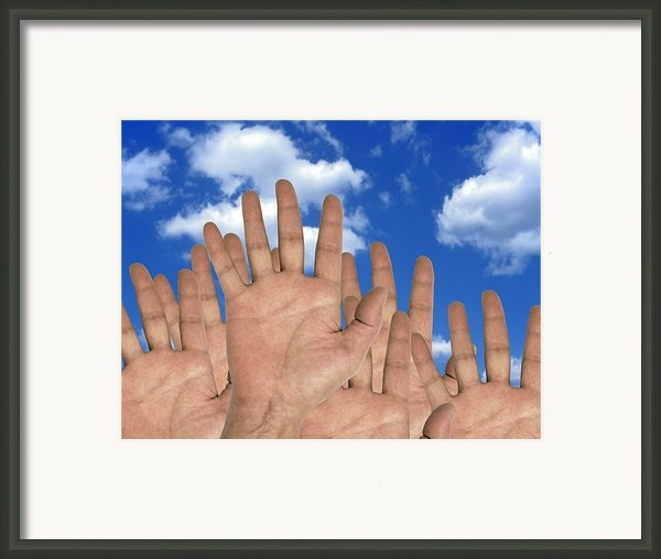 Human Hands And The Sky, Conceptual Image Framed Print By Victor De Schwanberg